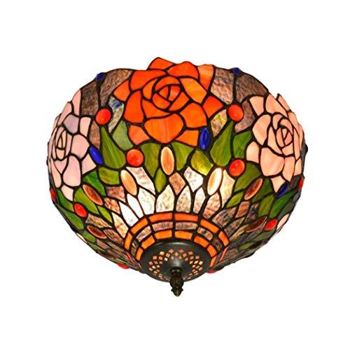 Yjmgrowing Plafonniers Art de Rose Pastorale de 12 Pouces plafonnier encastré en Verre teinté Fait Main de Style Tiffany pour l'éclairage de Porche d'entrée de Couloir,E27,40W (30 * 22cm)