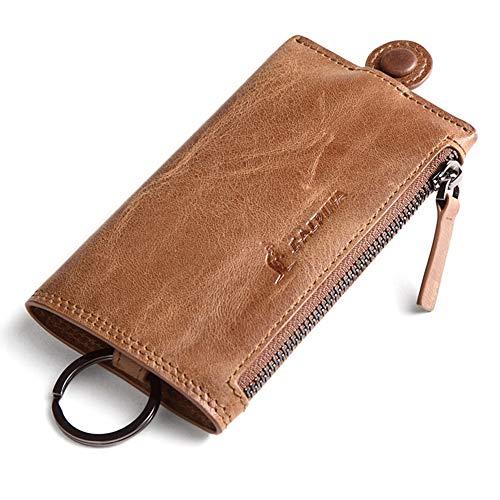 L'Alpina Premium Qualität Schlüsselmäppchen ECHTES Leder Schlüsseletui mit Ring Schlüsselanhänger mit Reißverschluss Schlüsseltasche für Damen und Herren Autoschlüssel-Hülle mit Geldtasche