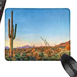 Saguaro Gaming Mouse pad Sun Goes Down in Desert Prickly Pear Cactus Southwest Texas National Park Game Mouse pad Design W15.7 x L23.6 x H0.8 Inch Orange Blue Green
