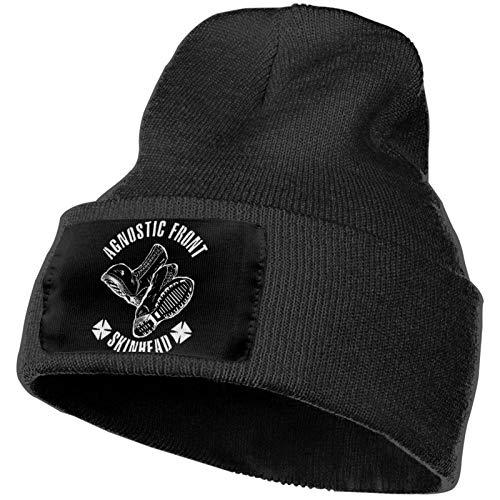Agnostic Front Unisex Deporte al Aire Libre Sombreros de Punto Trendy Warm Chunky Soft Stretch Winter Fashion Cap Negro