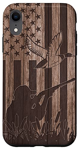 iPhone XR Duck Hunting Hunter Wood USA American Flag Patriotic Gift Case