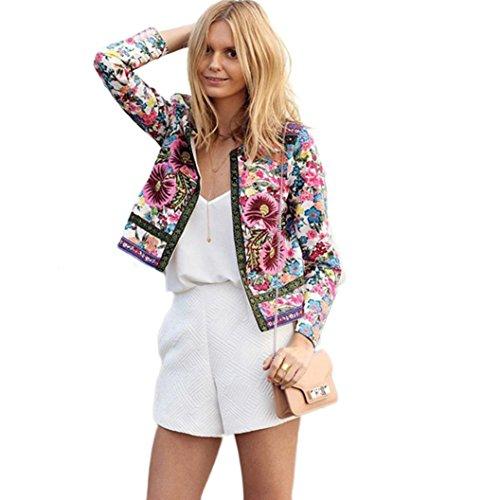 Vrouwen Bloemen Gedrukt Korte Jas, HOMEBABY Lange Mouw Outwear