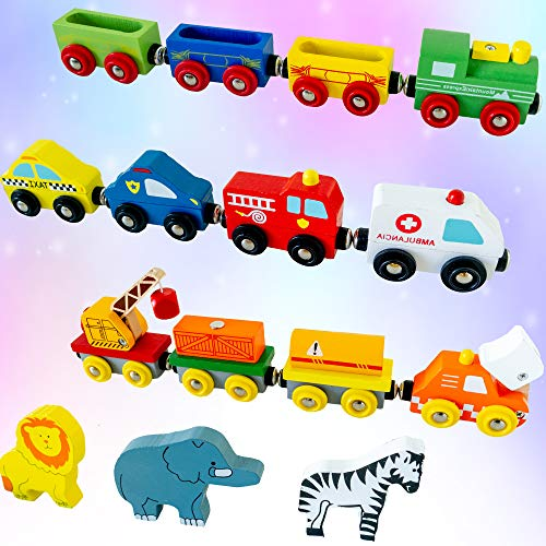 Wooden Train Set 12 PCS - Magnetic Engines with 3 Bonus Animals - Deluxe Toys for Kids Toddler Boys and Girls - Compatible to Thomas Railway, Brio Tracks, and Major Brands