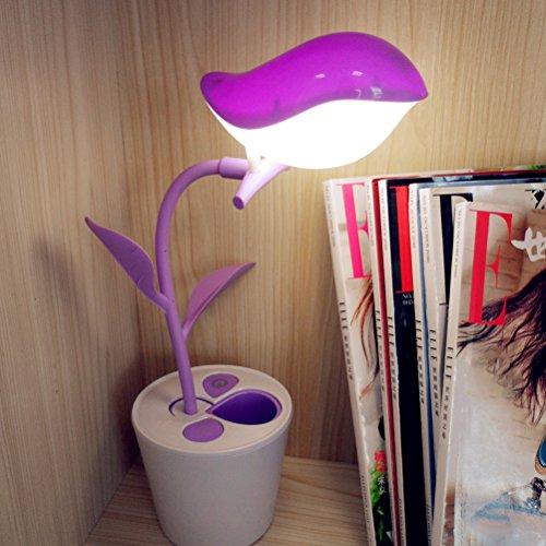ledmomo USB LED lámpara con forma de pájaro LED Lámpara de escritorio con Touch de Sensitive (Purple)