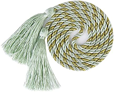 1 Pair of Curtain Tiebacks Tie Backs Tassel Rope Living Room Bedroom Decoration 135CM (Green + Golden)