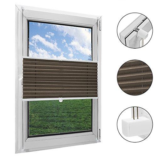 OBdeco Plissee Rollo Klemmfix ohner Bohren lichtdurchlässig Crushed Optik Faltrollo für Fenster Easyfix Kaffee 80x130cm