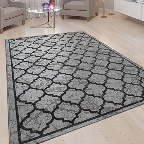 Vloerkleed Woonkamer, Laagpolig Met Marokkaans Patroon, 3D-Look In Antraciet, Maat:120x160 cm