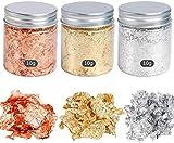 3 Boxes Gold Foil Flakes, Leaf Schabin Flakes Color 2.5 Imitation Gold/Silver/Copper, Metallic Foil Flakes for...