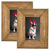 SZQINJI 4x6 Wood Photo Picture Frame Set of 2 Rustic Solid Cedarwood with High Definition Glass for Table Desk Top and Wall Decor