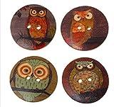 15 bottoni in legno di alta qualità, motivo gufo, diametro 3 cm, marrone, diversi motivi di gufo, a due fori, in legno, da cucire, da cucire, da cucire