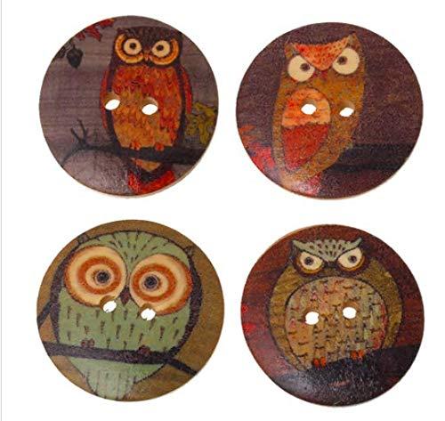 15 botones de madera prémium con diseño de búho, redondos, 3 cm de diámetro, color marrón, diferentes diseños de búhos, botones de dos agujeros, botones de madera para coser o coser