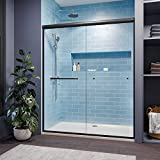 SUNNY SHOWER Semi-Frameless Shower Doors with 1/4 in. Clear Glass, 58.5 in.- 60 in. W x 72 in. H, Black Hardware Double Sliding Glass Shower Enclosure