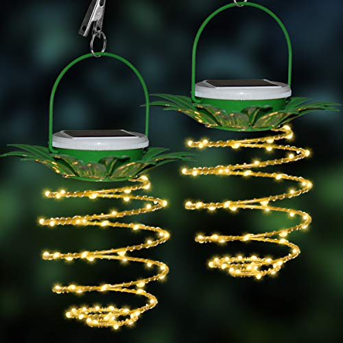Pineapple Solar Fairy String Lights 60 LEDs Outdoor Waterproof Garden Hanging Lamp for Patio Party Decoration 2 Pack