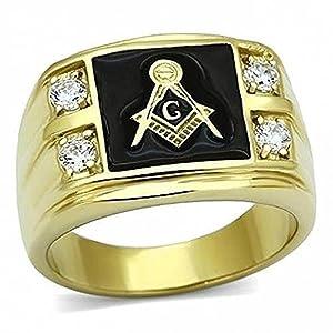ISADY - Anton - Herren-Ring - 585er 14K Gold platiert - Franc-maçonnerie - Freimaurer - Tempelritter - Zirkonium und onyx schwarz
