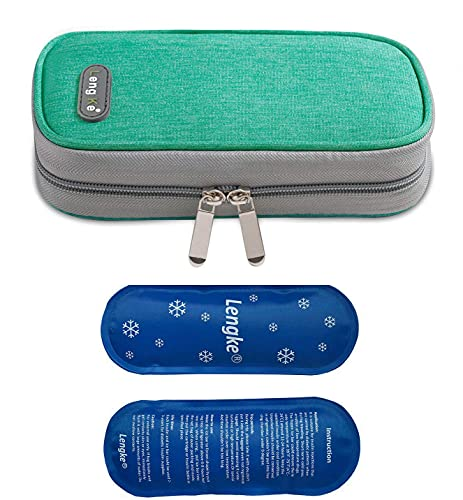 ONEGenug Insulin Travel Cooling Bag,Diabetes Medical Cool Bag Isothermal Insulin Bag with 2 ice Packs for Medication Cooler (Grün)