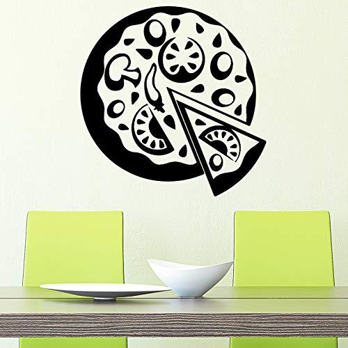 Amüsante Pizza Wohnkultur Moderne Acryldekoration für Wohnzimmer Kinderzimmer Kunst Aufkleber Gelb L 43cm X 44cm