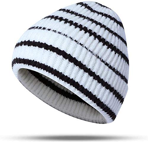 Unisex Callous Stripes Knitted Hat Outside Fashion Knit Beanie Pointed Cap Modeling for Running Fishing Cycling (Color : White)