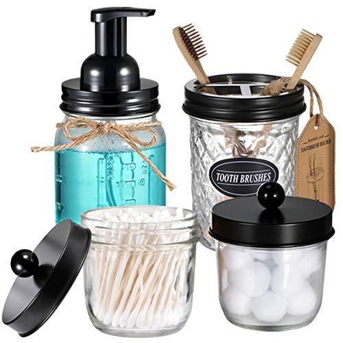 Mason Jar Bathroom Accessories Set(4 Pack) - Foaming Soap Dispenser&Qtip Holder Set&Toothbrush Holder-Rustic Farmhouse Decor Bathroom Organizer Apothecary Jar Country Countertop (Black)