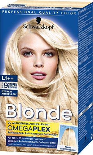 Schwarzkopf Blonde Aufheller L1++ Extrem Plus Haarentfärber, Stufe 3, 3er Pack (3 x 143 ml)