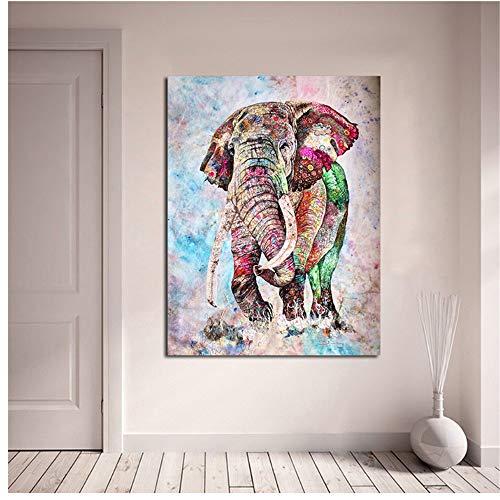 Keliour Leinwand Kunst Moderne Kunst Wandbild Wandkunst Leinwand Malerei Tierbild Bunte Elefanten Poster und Drucke Bild Kunst Wandbilder-60x80cm Kein Rahmen