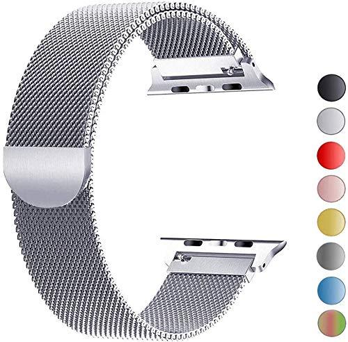 VIKATech Bracelet de Remplacement Compatible avec Apple Watch Bracelet 44mm 42mm 40mm 38mm, Bracelets de Rechange Smartwatch avec Aimant compatibles avec iWatch Series 6/5/4/3/2/1 (42mm/44mm, Argent)