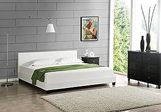 Lit Double Rembourré Moderne Robuste Sommier à Lattes Solide Housse Similicuir Design Élégant 140 x 200 cm Blanc