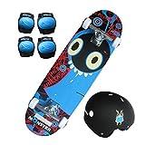 Charles Bentley Kit Skateboard Monster - Planche/genouillères/coudières/Casque - Enfant - 71 cm