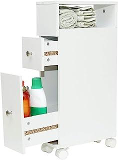 Wonderhome Biała szafka łazienkowa z 2 szufladami, regał wnękowy 15 cm szerokości, 4 koła (szer./gł. /wys.)