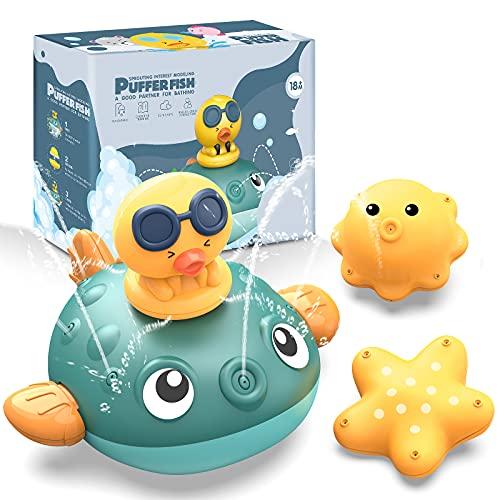 CAVN Baby Badespielzeug Wasserspielzeug, Baby Badespass Whale Wasserspray Spielzeug, Induction Automatisch Spray Wassersprühspielzeug, Badewannenspielzeug Babyspiel Wasserbad Spielzeug für Kinder Baby
