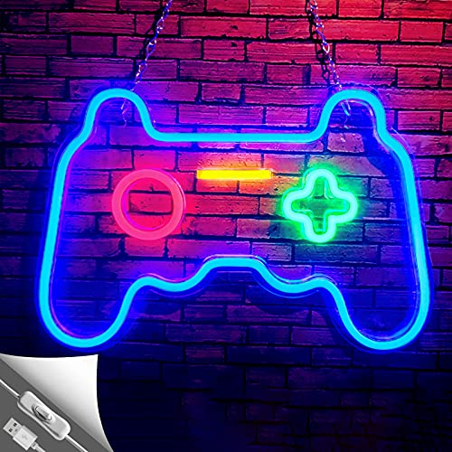 Game Neon Sign Gamepad Shape LED Neon Lights Signs for Wall Decor Gaming Controller LED Neon Signs for Bedroom Game Room Gaming Wall Party Decoration Light Up Signs Gamer Children Teen Boys Blue