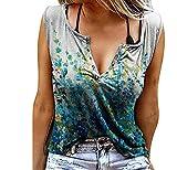 T-shirt d'été sans manches pour femme - Grande taille - Élégant - Décontracté - Col en V -...