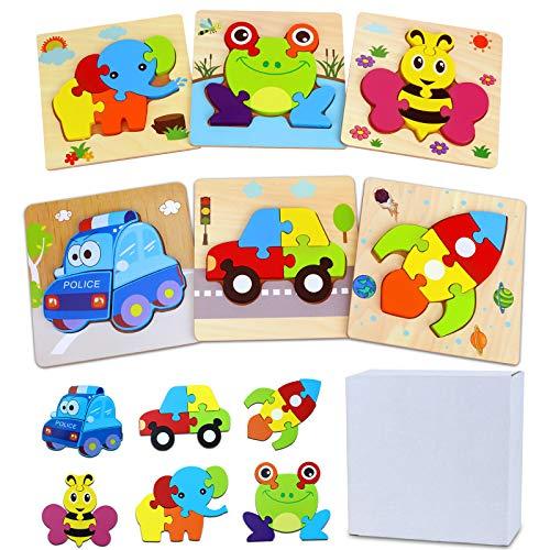 GUBOOM 6 Pcs Kinder Holzpuzzle, Lebendiger Hintergrund Steckpuzzle Holz Montessori Spielzeug, 3D Tier Puzzle Lernspielzeug, Kinderspielzeug ab 2, 3 Jahre, Geburtstag Kleine Geschenk für Kinder (A)
