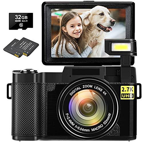 Digital Camera Vlogging Camera 30MP Full HD 1080P Digital Camera with Retractable...