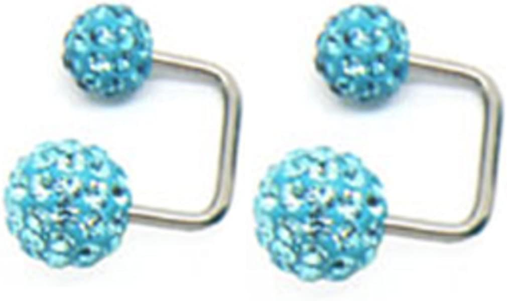Thenice 1 Pair Special Flash Earrings Double Ball Full Crystal Ball Cu-shaped (Blue Lake)