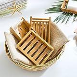 Kaxich 2 Stück Seifenschale Natürlicher Bambus Holz Seifenhalter Seifenkiste Seifenhalterung für Badezimmer Dusche Küche Waschbecken - 3