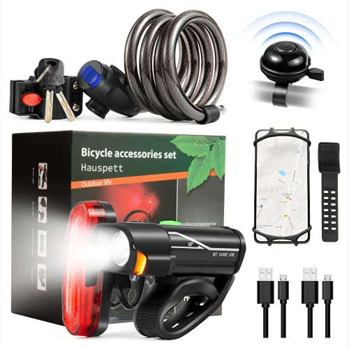 Bike Accessories.Bicycle accessories5-piece Set .Bike Accessories for Adult Bikes .Mountain biked Accessories .USB Rechargeable Bicycle Lights.Bicyclist Lock.Bicycle Mobile Phone Holder .Bicycle Bell