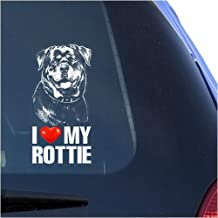 I Love My Rottie Clear Vinyl Decal Sticker for Window, Rottweiler Dog Sign Art Print