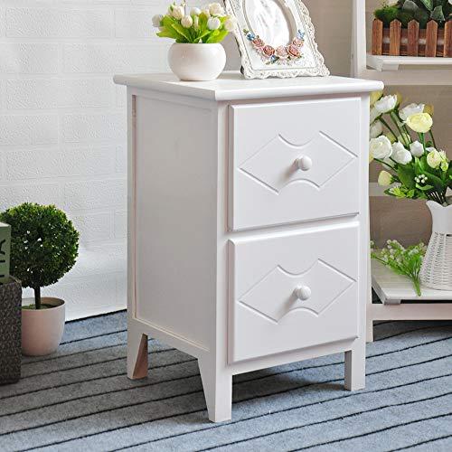 EXQUI Nachttisch Nachtschrank Nachtkommode Weiß mit 2 Schubladen Nachtkonsole Kommode aus Holz für Schlafzimmer Wohnzimmer Komplett montiert, 32x30x52cm, G962-2W