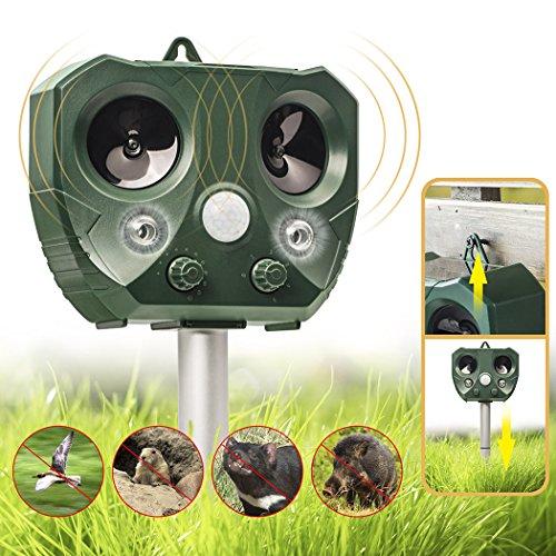 Besiva Ultrasonic Pest Repeller, Outdoor Animal Repellent, Solar Powered Waterproof Ultrasonic Pest Repellent for Dog, Cat, Bird, Squirrel, Mice, Rabbit, Vole, Raccoon, Fox, Rodent, etc