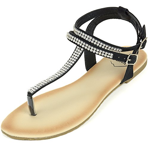 Alpine Swiss Womens Black Slingback T-Strap Rhinestone Thong Sandals 9 M US