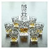 NUOCHEN Whisky Glass Whisky Decanter Crystal Whisky Decanter Set, Crystal Glass Decanter para Alcohol con tapón, Diseño Cuadrado Decantador de vinos - 750 ml Decantador y 320 ml de Gafas
