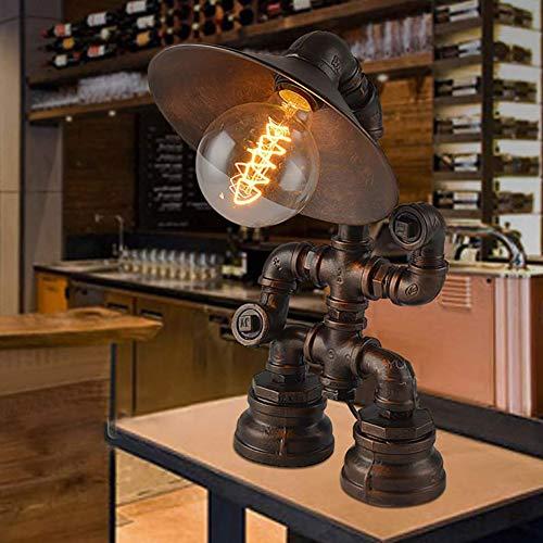 LCYFBE Lámpara de Mesa Industrial Vintage Lámpara de Escritorio de Mesita de Noche de Hierro Rústico