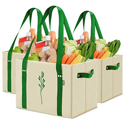 Green Bulldog Reusable Grocery Bags - Heavy Duty, Foldable, Washable Canvas Tote Shopping Bags - Box Bag w/ Straps And Handles (Set of 3) - Taupe