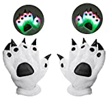 LED Finger Flashing Bear Paw Gloves - Luwint Novelty Lights Up Glow Blink Show Prop Toy for Werewolf Cat Monster Costume