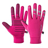 Lmaray Winter Gloves Cycling Sport Running Hiking Gloves Warm Reflective Non-slip Cycling Touch Screen Glove for Men Women, Pink, M