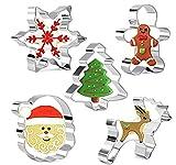 WUHUAROU - Set di 5 formine per biscotti in acciaio inox, motivo 'Gingerbread Man', piccoli fiocchi di neve, albero di Natale, cervi, testa di Babbo Natale, decorazione per biscotti natalizi