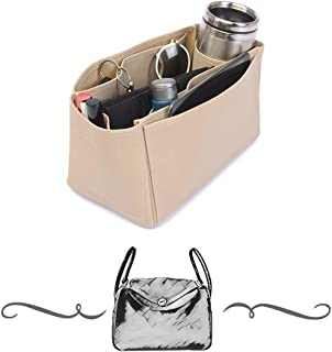 Lindy 30 Deluxe Leather Handbag Organizer in Dark Beige Color, Leather bag insert for Hermes Lindy 30, Express Shipping