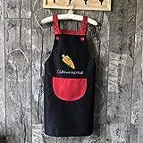 YUEZPKF Bellissimo Piccolo Uomo Grembiule Domestico Cucina Cucina Coreana Grembiule Impermeabile e a Prova di Olio Grembiule Unisex-rapa Rabbit Grigio Tasca Nera (Color : Big Carrot Black Red Pocket)