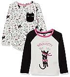Spotted Zebra Girls' Kids Long-Sleeve T-Shirts, 2-Pack Ninja Kitty, X-Small