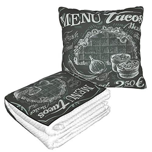 XINGAKA Manta de Viaje súper Suave,Logotipo de Comida Fresca Mexicana de Estilo Vintage con diseño de menú de Burrito de maíz y Chile,Manta Plegable,Almohada cómoda